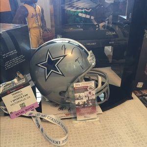 Full size Cowboys autographed helmet J. Smith